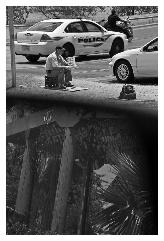 Begging in traffic, Austin, Texas