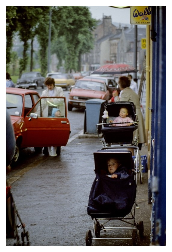 Unattended babies on sidewalk, Holy Loch, Scotland