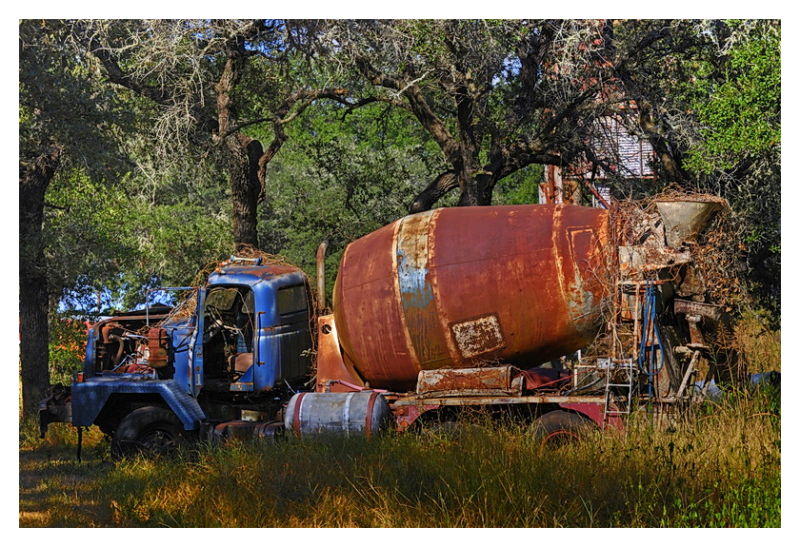 Junked cement mixer