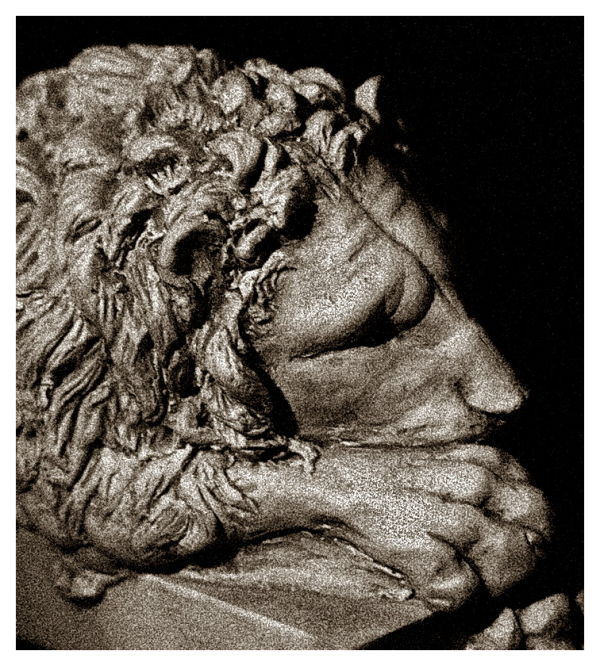 Lion figure in repose or thinking