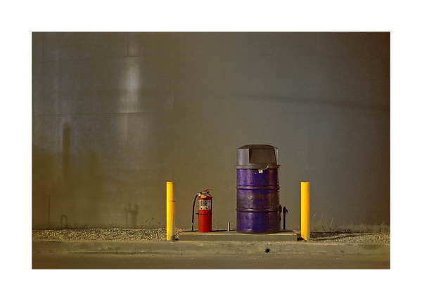 Trash can and fire extinguisher