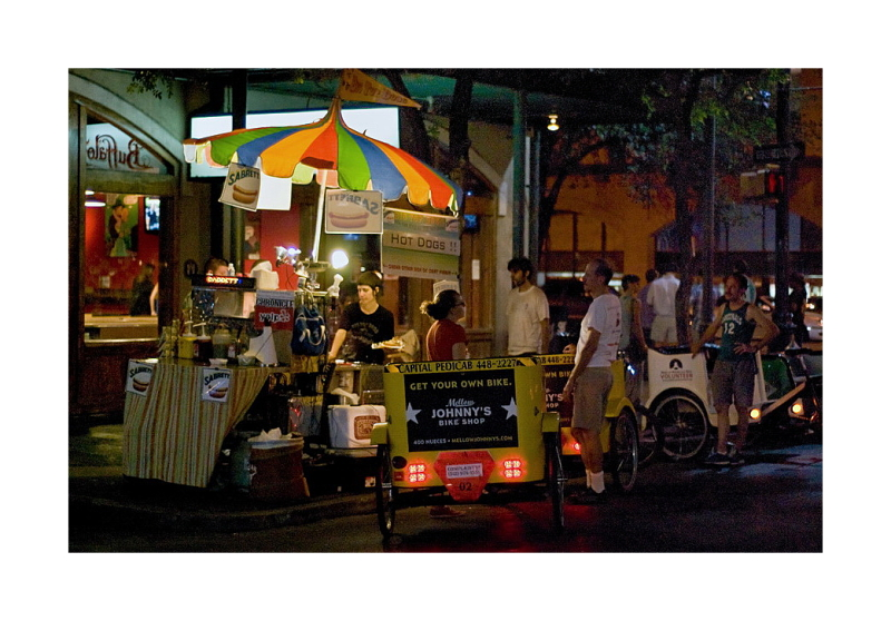 Austin Nightscapes: Hot Dogs and Pedicab