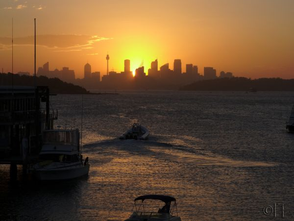 View to city from Watsons bay. Sydney. Australia.
