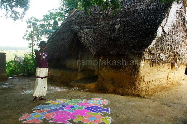 a shy girl who did the rangoli