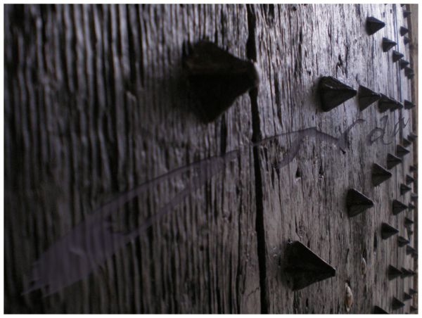 close up of an ancient wooden door