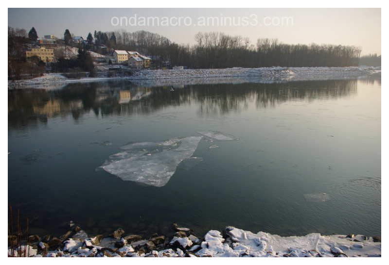 Piece of ice floating on the water surface