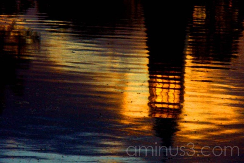 tower reflected in water at dusk