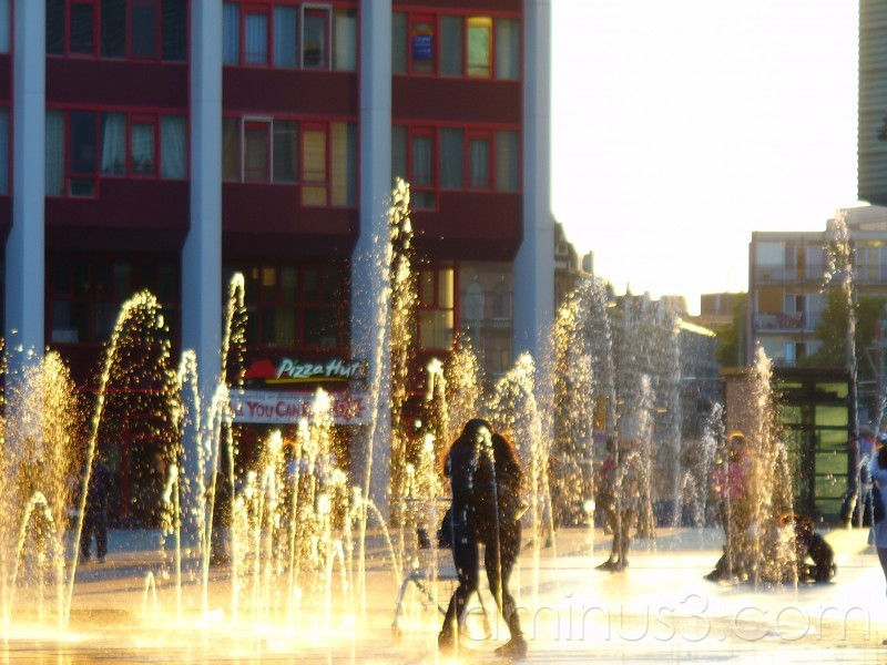 Backlit fountain at sunset in Rotterdam