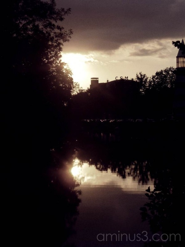 Sunset over canal