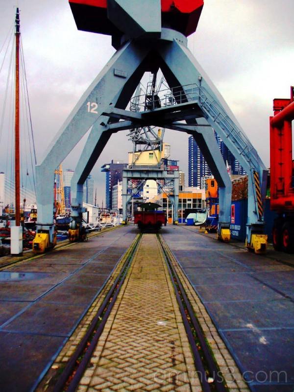 Train under crane on rails