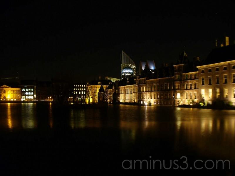 Buitenhof Den Haag Netherlands at night