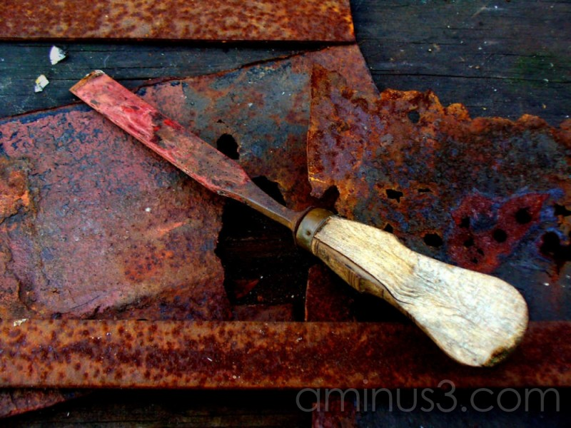 chisel on workbench