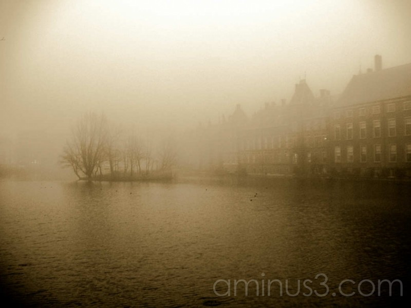 Buitenhof den Haag on a cold misty day