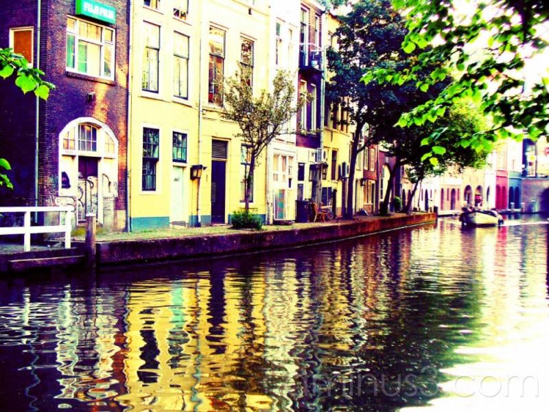 pleasure boat on canal in Utrecht