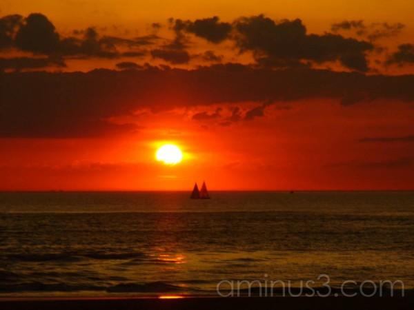 Beach at Scheveningen at sunset blood red sky