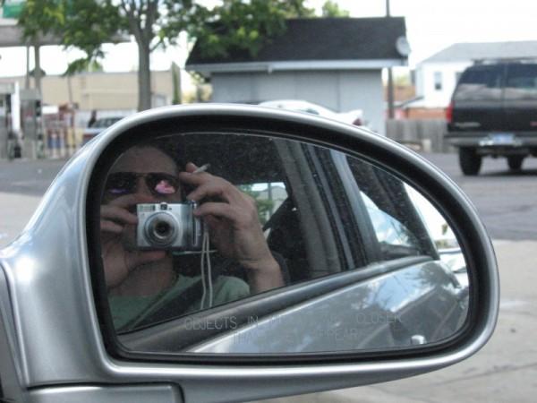 Me in car rear view mirror