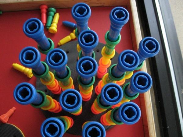 childrens museum rainbow stacker art