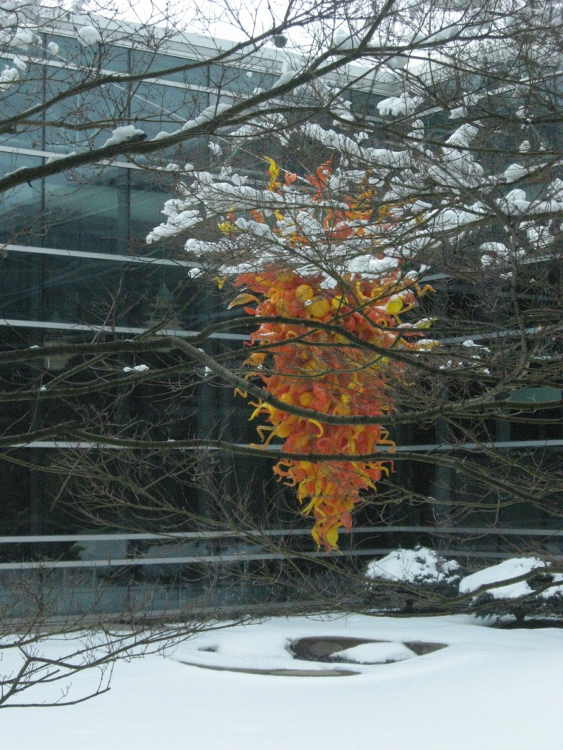 dale glass sculpture in the snow