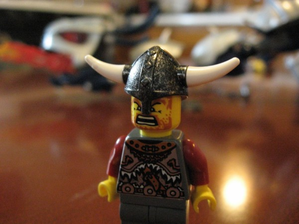 Lego Viking poses in front of his kill