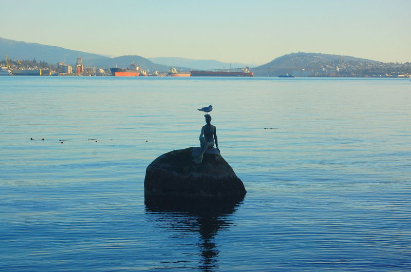 Stanley Park mermaid w/ seagull on its head