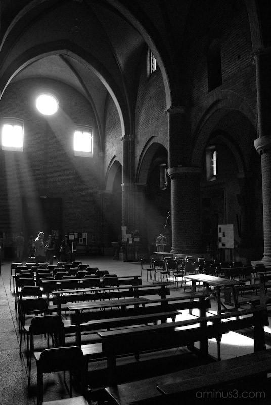 Divine illumination in Morimondo abbay, Italy