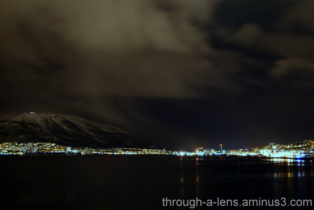 Tromso Norway at night from a distance