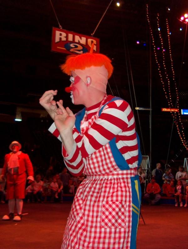 Clown performs