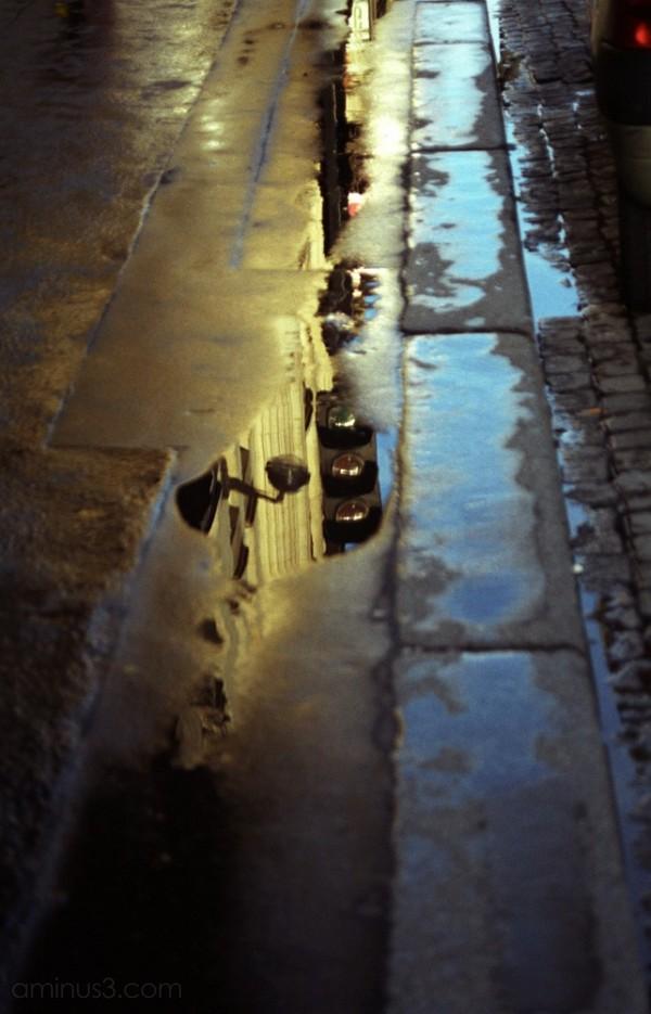 paris boulevard haussmann rain