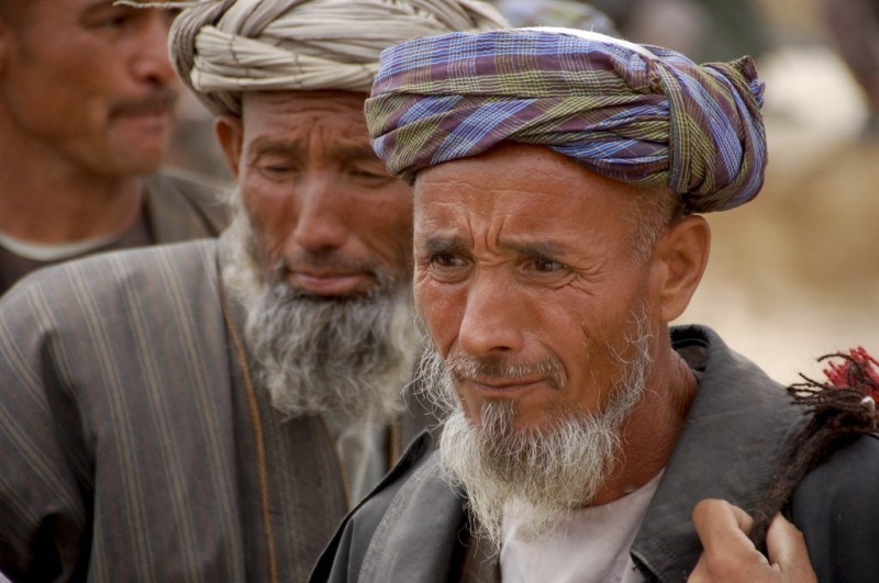 men at food distribution Northern Afghanistan