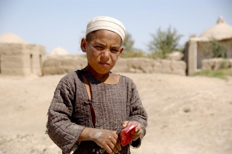 Turkmen boy near village in northern Afghanistan