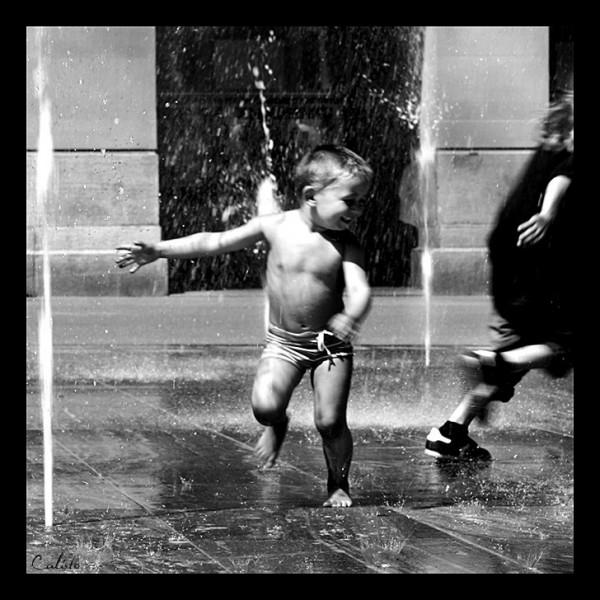 streets, b/w, kid, joy, fun, outdoor, shower, wate