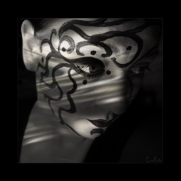 painting, face, portrait, female, shadow, light, b