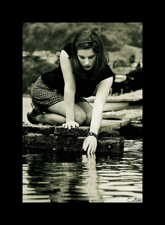 b/w, water, reflection, female