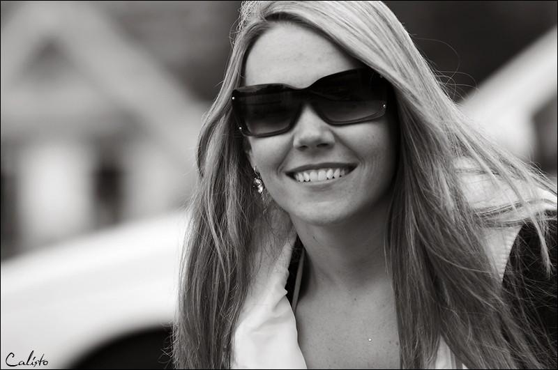 portrait, b/w, smile, hair, outdoor