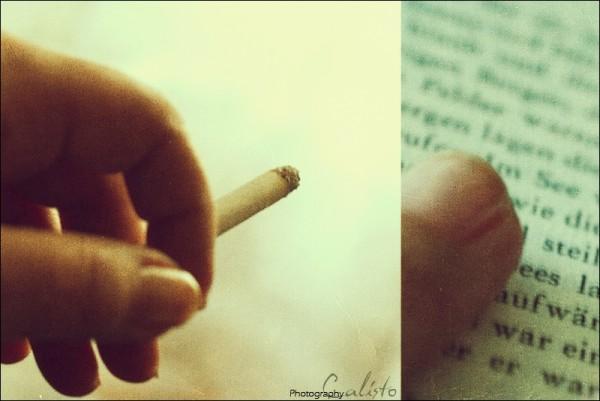 cigarette, smoke, letters, book, light