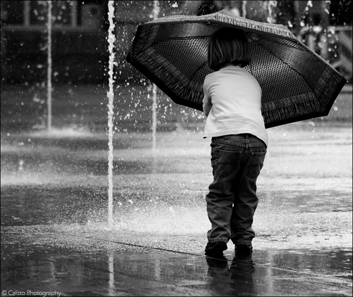 dance, water, rain, umbrella, child, b/w