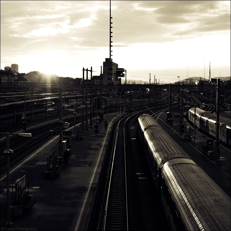 train, railway, sunlight, sundown, urban, city