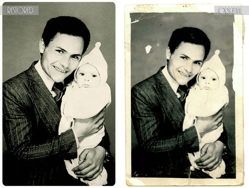 vintage, restoration, father, son, baby, b/w