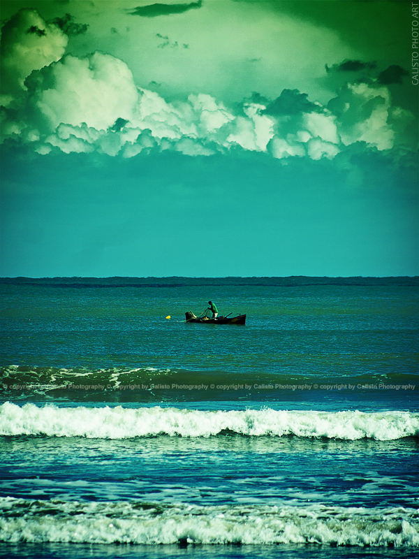 sea fisherman boat creative