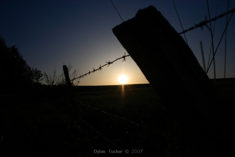 the sunset from an old hay field