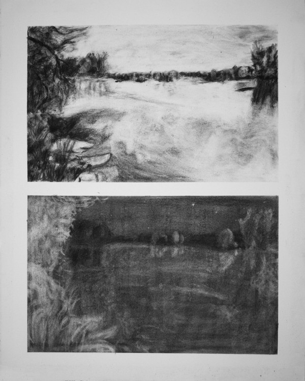 Charcoal drawing of the Raquette River Potsdam, NY