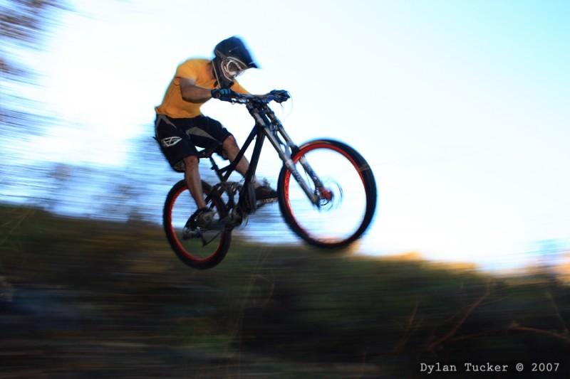 Jumping a mountain bike