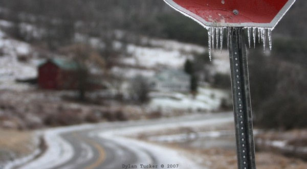 ice on a sign in rural ny