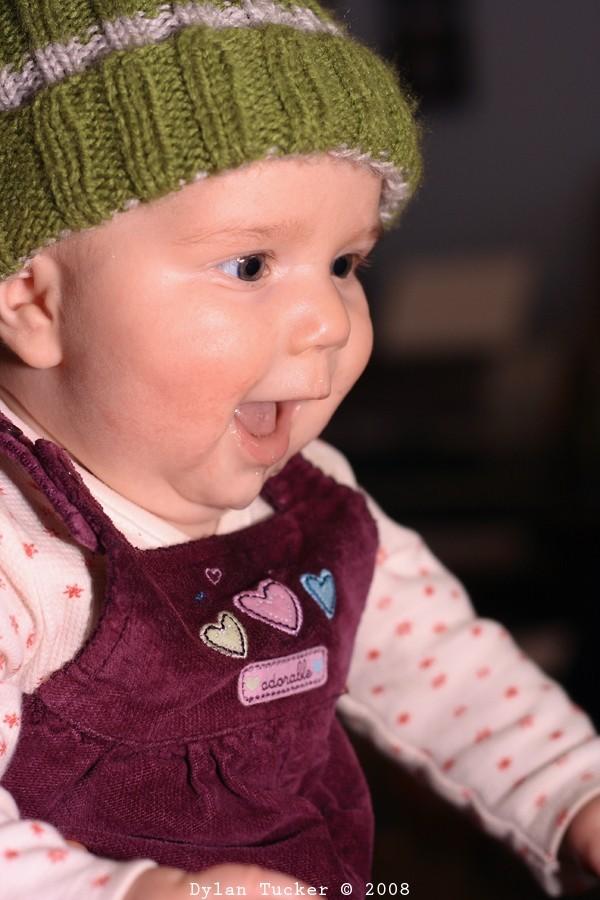 baby looking happy