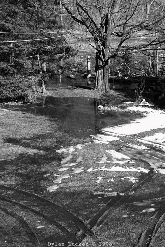 melting snow in a flood