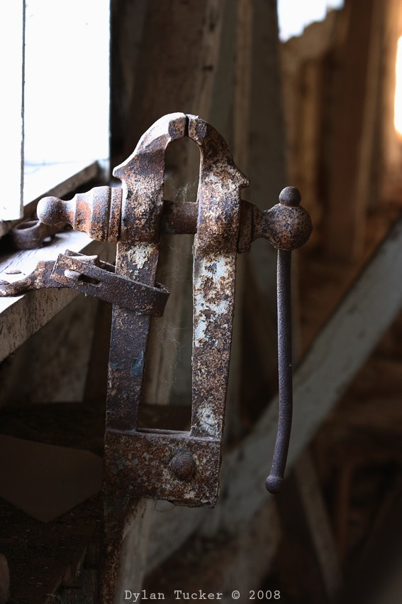 old vice in a barn