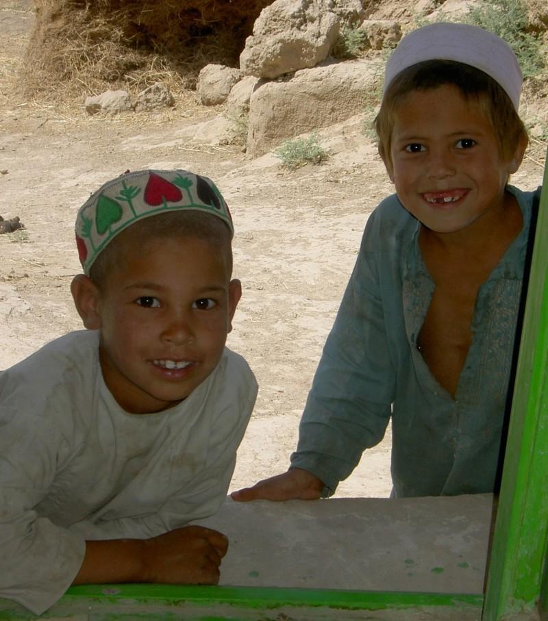 village boys at the window