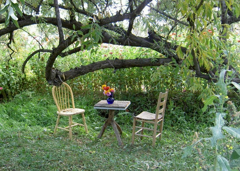 garden and two chairs