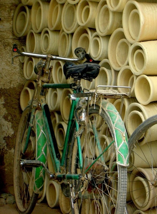 water pipe and bicycle