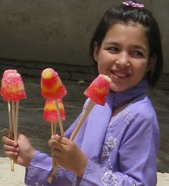 afghan girl with ice lollies